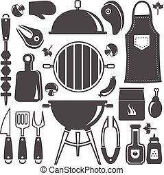 Bbq Icon Flat Isolated Silhouette Set - Icon flat isolated...