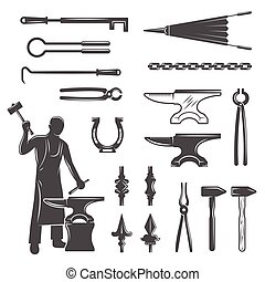 Blacksmith Black White Icons Set - Blacksmith black white...