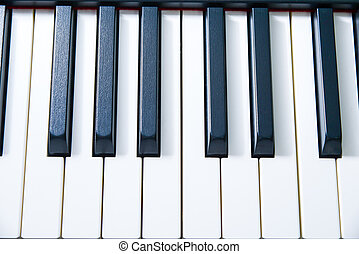 Piano keys viewed from above