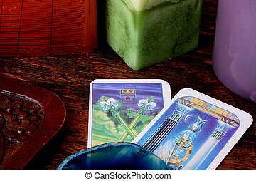 Cards tarot with a casket for their storage