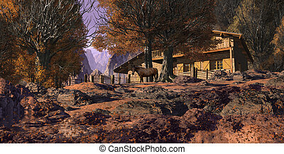 Mountain Retreat With Horse
