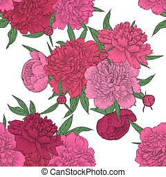 beautiful seamless background. pink peonies with green leaves and buds.