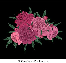 beautiful bouquet of pink peonies with green leaves.