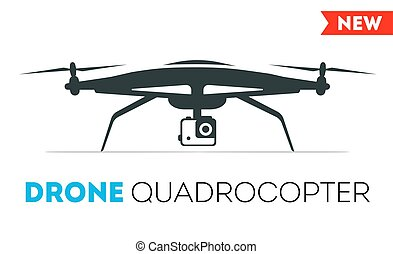 Quadrocopter drone vector icon. Flight controlled security...