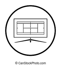 Tennis TV translation icon. Thin circle design. Vector...