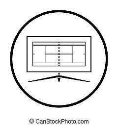 Tennis TV translation icon. Thin circle design. Vector...