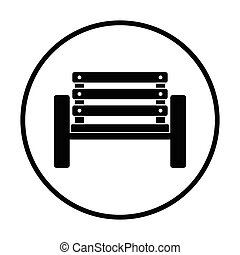 Tennis player bench icon Thin circle design Vector...