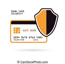 bank card security - bank credit card with shield security...