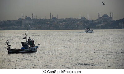 Fishing boats near Hagia Sophia - Turkey, Istanbul, Fishing...