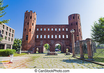 Palatine Gate in Turin, Italy - View at old Roman Palatine...