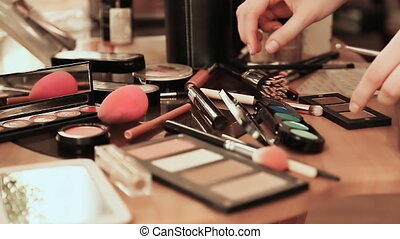 Make-up desk. Many cosmetics. - Make-up desk Many cosmetics...