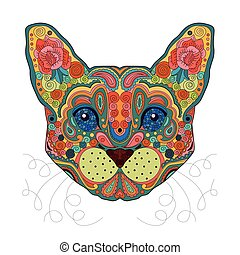Ethnic Zentangle Ornate HandDrawn Egypt Cat Head. Painted Doodle Animal Head Vector Illustration. Sketch for Tattoo, Poster, Print or t-shirt. Relaxing Coloring Book for Adult and Children.