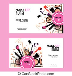 Make Up Artist Business Card Design Set. Cosmetic Products...