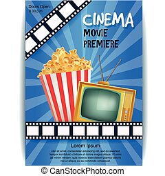 Realistic Cinema Poster. Movie Premiere. Template Banner with TV, Popcorn, Clapper and Film. Vector Detailed Illustration on Blue Background.