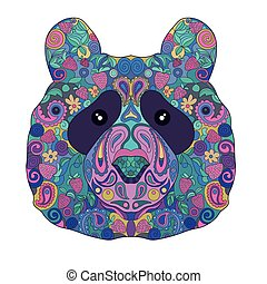 Ethnic Zentangle Ornate HandDrawn Panda Bear Head. Painted Doodle Animal Head Vector Illustration. Sketch for Tattoo, Poster, Print or t-shirt. Relaxing Coloring Book for Adult and Children.
