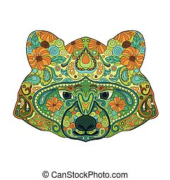 Ethnic Zentangle Ornate HandDrawn Raccoon Head. Painted Doodle Animal Head Vector Illustration. Sketch for Tattoo, Poster, Print or t-shirt. Relaxing Coloring Book for Adult and Children.