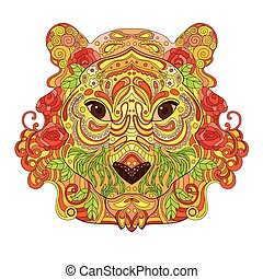 Ethnic Zentangle Ornate HandDrawn Lion Head. Painted Ink Doodle Animal Head Vector Illustration. Sketch for Tattoo, Poster, Print or t-shirt. Relaxing Coloring Book for Adult and Children.