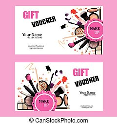 Gift Voucher Card Design Set. Cosmetic Products for Make Up...