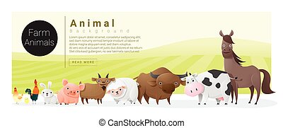 Cute animal family background with farm animals 2 - Cute...