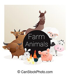 Cute animal family background with farm animals , vector ,...