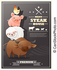 Menu steak house with farm animals , vector , illustration