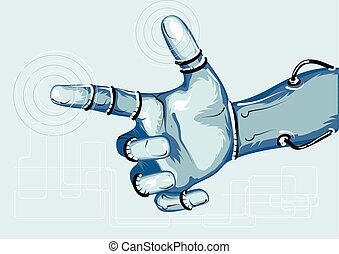 cyborg. hand of robot on abstract background
