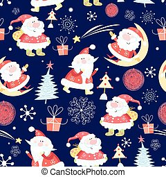 Christmas pattern Santas - Winter seamless pattern with...