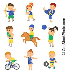 Cartoon sport kids Vector illustration for 2016 brazil...