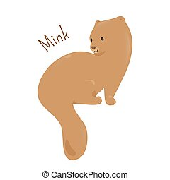 Mink isolated. Child fun pattern icon. - Mink isolated....