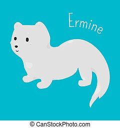 Ermine isolated. Child fun icon. - Ermine isolated on blue...