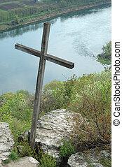 Old wooden moldavian orthodox cross ,Moldova