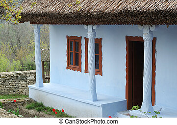 Old traditional moldavian house with roof covered with the...