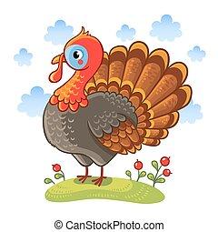Cute cartoon character turkey.