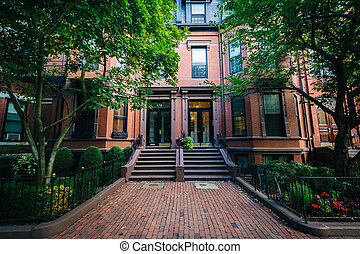 Beautiful brick rowhouses in Back Bay, Boston,...