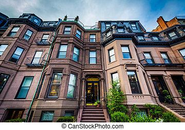 Beautiful brick rowhouses in Back Bay, Boston,...