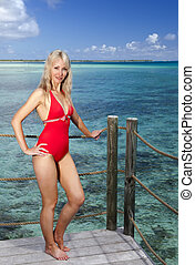 young woman in a red bathing suit o