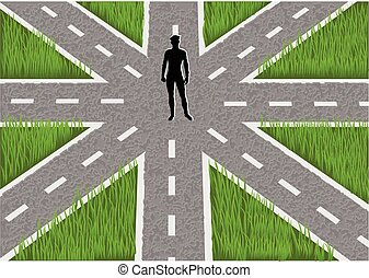decision concept. man stands choosing his way