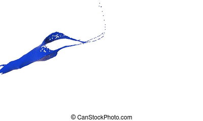 close-up view of blue color splash in slow motion fly from...