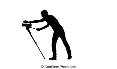 Photographer shows the thumb. White. Silhouette - Male...