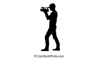 Job operator with a video camera. White background....