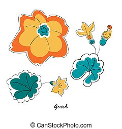 Scallop and leaves - Vector scallop and leaves in cartoon...
