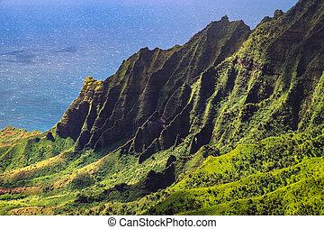 Landscape view of Kalalau valley cliffs at Na Pali coast,...
