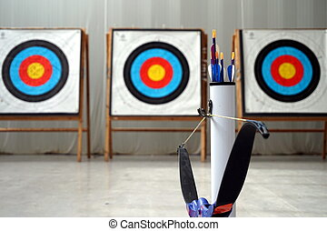 Archery bow, arrows and targets