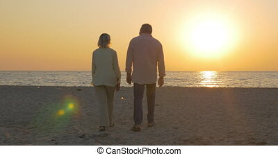 Senior couple embracing by the sea at sunset