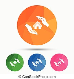 House insurance sign icon Hands protect cover - House...