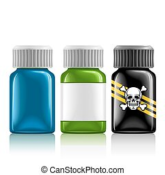 three medical bottles with medication and poison...