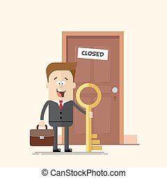 happy businessman with a key manager or standing in front of  closed door.  man   suitcase in  business suit   tie. Solved  problem. Moving forward. No obstacles.