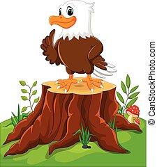 Cute eagle cartoon on tree stump