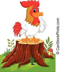 Cartoon chicken rooster on tree stump