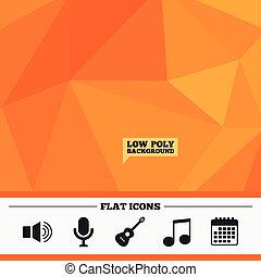 Musical elements icon Microphone, Sound speaker - Triangular...